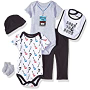 Little Treasure Baby 6 Piece Clothing Set, Born to Rock 3-6 Months (6M)