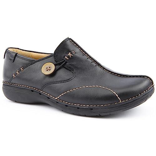 Ladies Clarks un Loop Black Leather Leisure Shoes Size 3