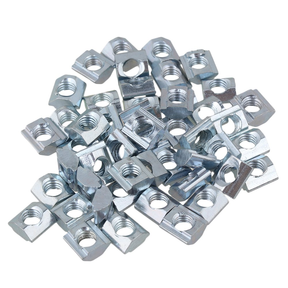 Mxfans 50pcs T Sliding Nut M6 Thread for 20 Series European Plated Carbon Steel Silver blhlltd
