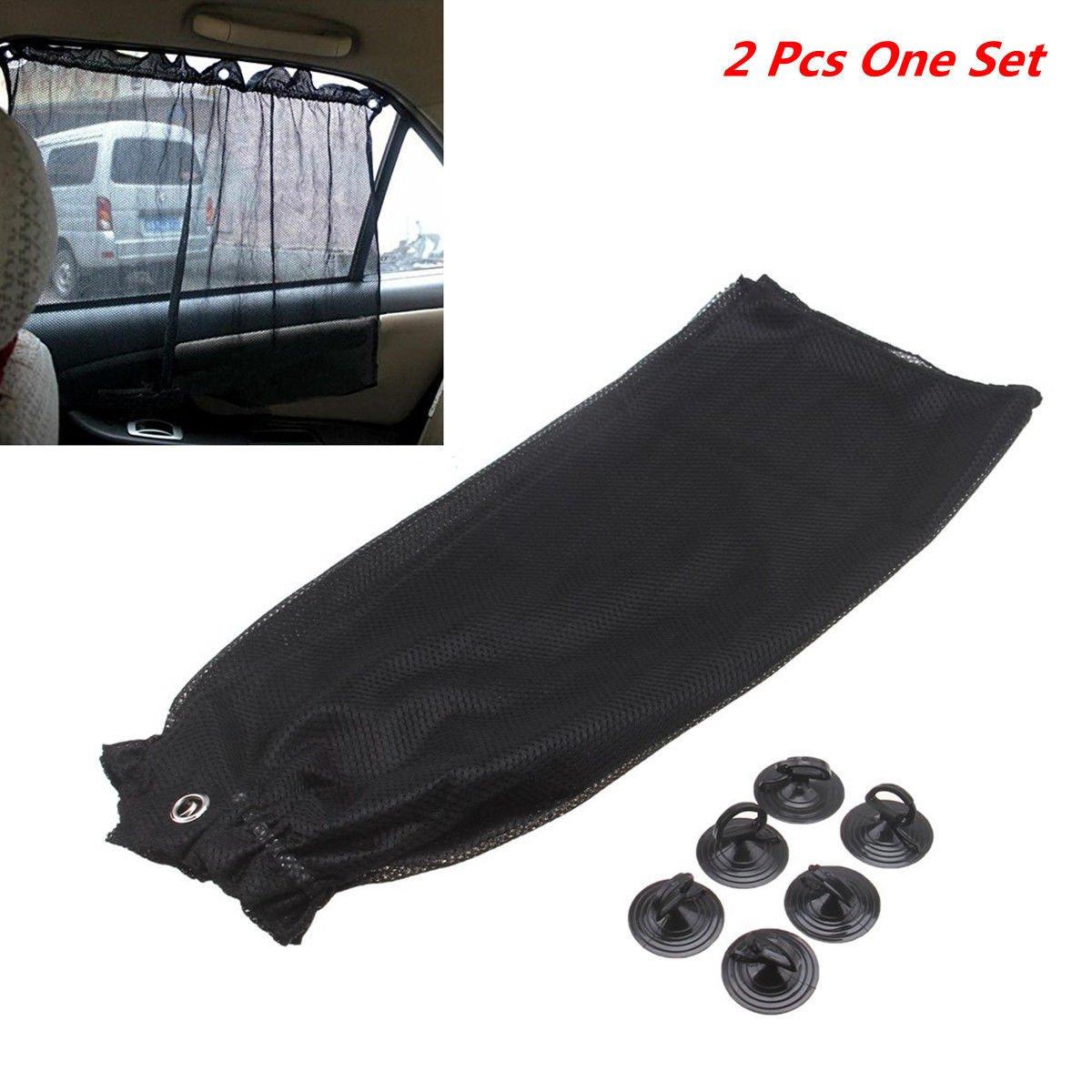 MAZIMARK--2pc Car Sun Shade Curtain UV Protection Side Window Visor Curtain W/ Suction Cup
