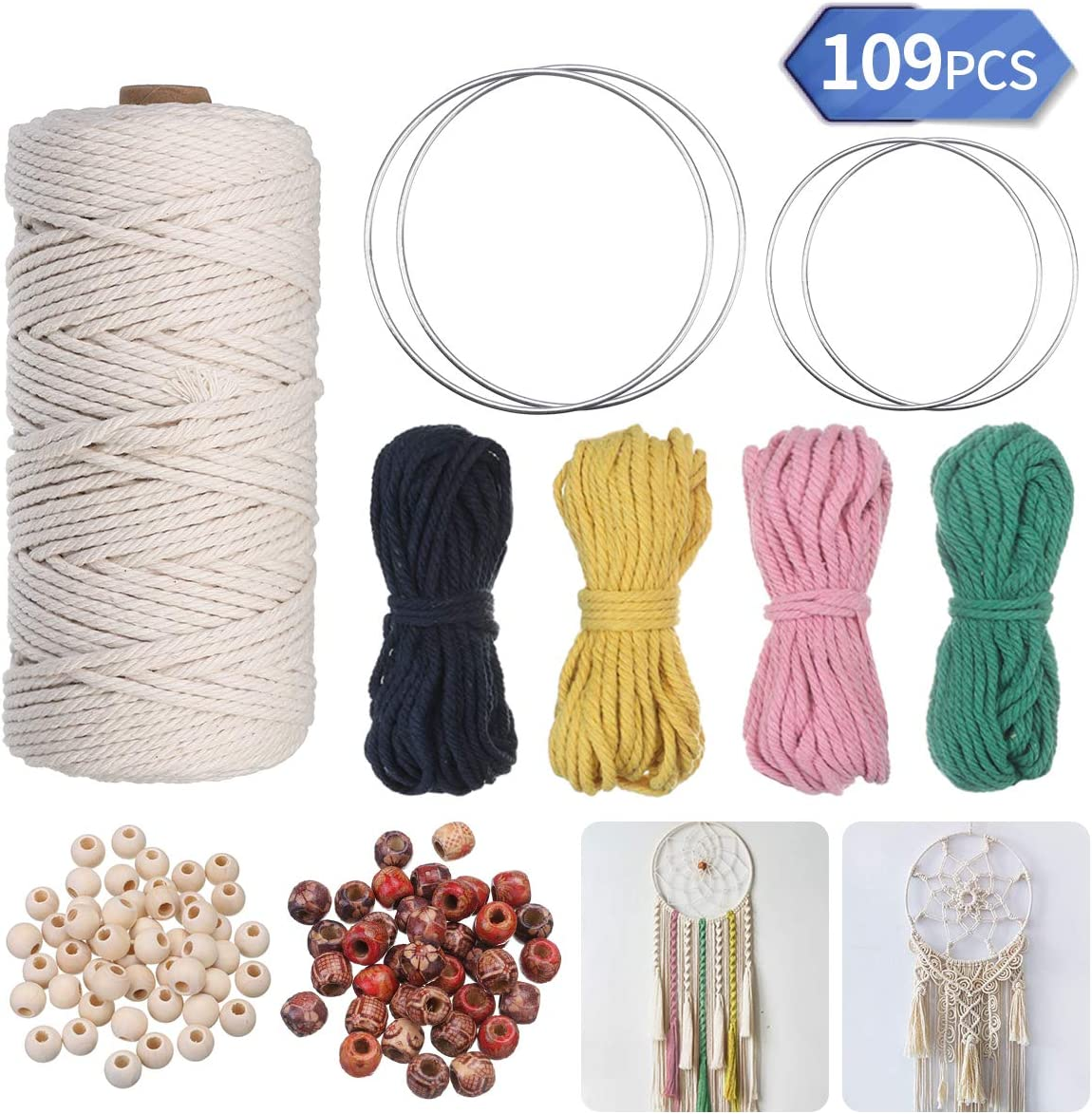 3mm x 200m 6pcs Wood Ring and 2 wooden sticks for Wall Hangings 4-strand Cotton Rope Macrame Cord Plant Hangers Gift Wrapping and Wedding Decorations - Macrame Kit with Macrame Rope Rolls