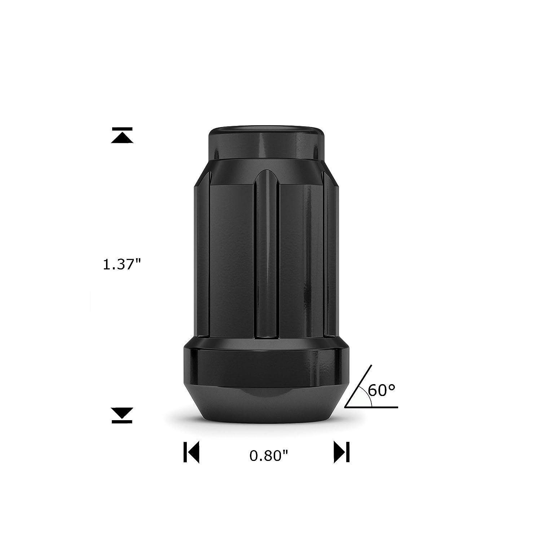 4-Pack Black Chrome White Knight 3804BK-4 1//2-Inch-20 Thread Size Spline Drive Lug Nut with Key