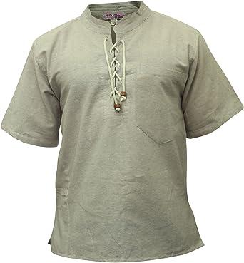 Shopoholic FASHION HOMBRE MEDIA CON MANGAS HIPPY Camisa De Abuelo: Amazon.es: Ropa y accesorios
