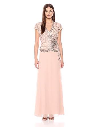 J Kara Womens Faux Wrap Long Dress Wflutter Sleeve At Amazon