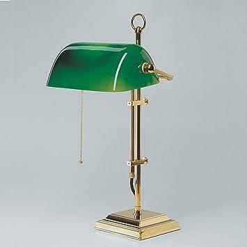 Great Bankers Lamp, Grüner Schirm Gestell Aus Glänzend Poliertem Messing   (W2 99  Gr Idea