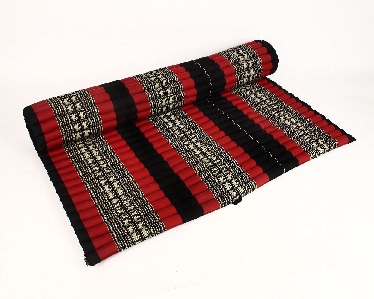 Design by UnseenThailand Roll Up Thai Mattress, Kapok Fabric, Premium Double Stitched, 79x63x2 inches. (Black - Red)