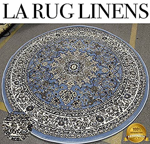 LA Rug Linens 7'x7' Feet 220x220 CM Round Shaped Persian Traditional Floral Tabriz Multi-Color Light Blue Sky Blue Off White Black Gray Brown Rug Carpet Area Rug Living Room Bedroom