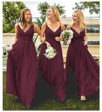 a77b9e60eaa1 Burgundy Tulle Wedding Bridesmaid Dresses V-Neck A-Line Long Formal Evening  Party Dress