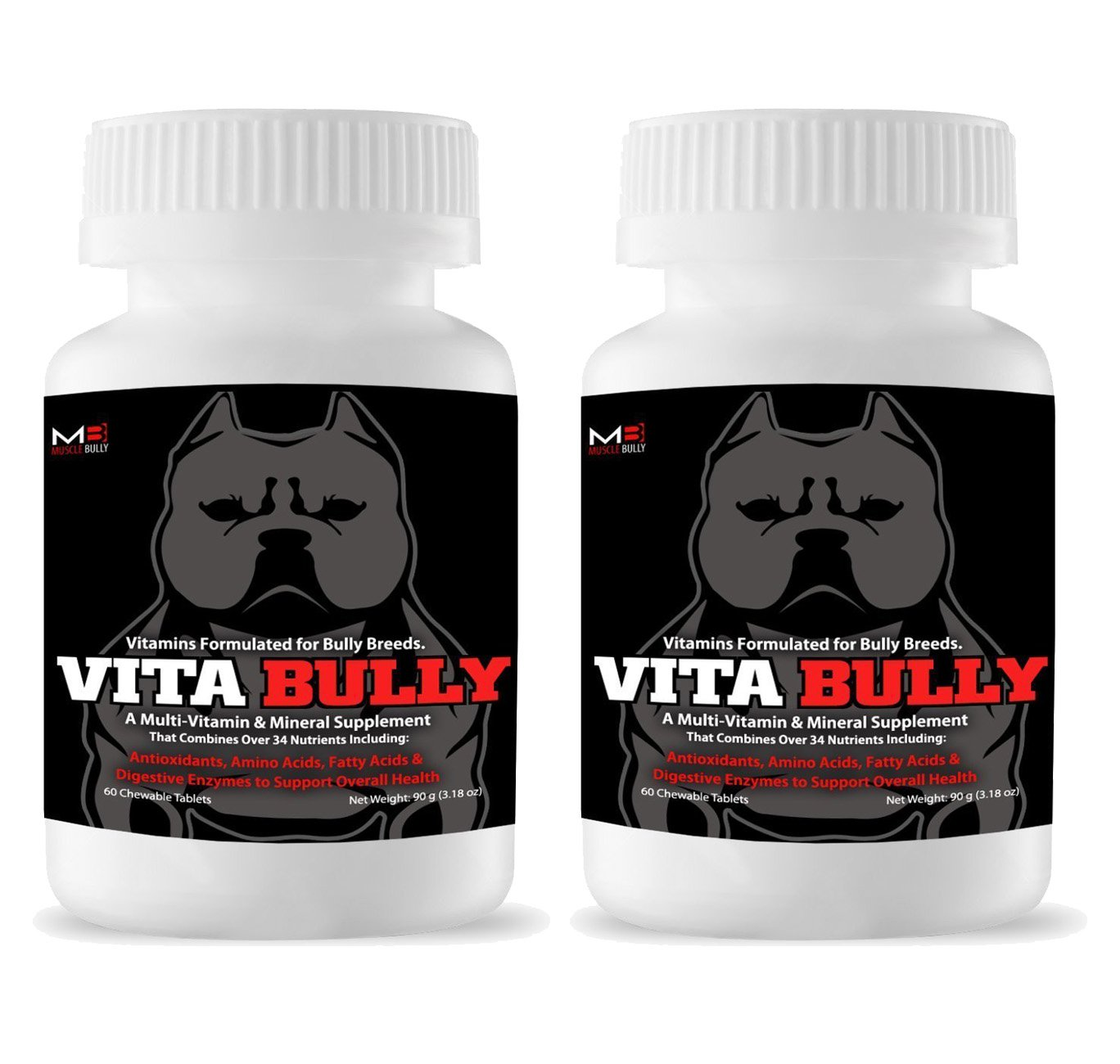 2 Pack Vita Bully Supplemento per Bully Breeds: Pit Bulls, American Bullies, Exotic Bullies, Bulldogs, Pocket Bullies (120 Tablet) di Muscle Bully