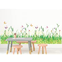 Amazon Brand - Solimo Wall Sticker for Home (Grassland, ideal size on wall , 100 cm X 35 cm),Multicolour