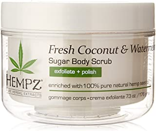 product image for Hempz Herbal Sugar Body Scrub, Pearl White, Fresh Coconut/Watermelon, 7.3 Fluid Ounce