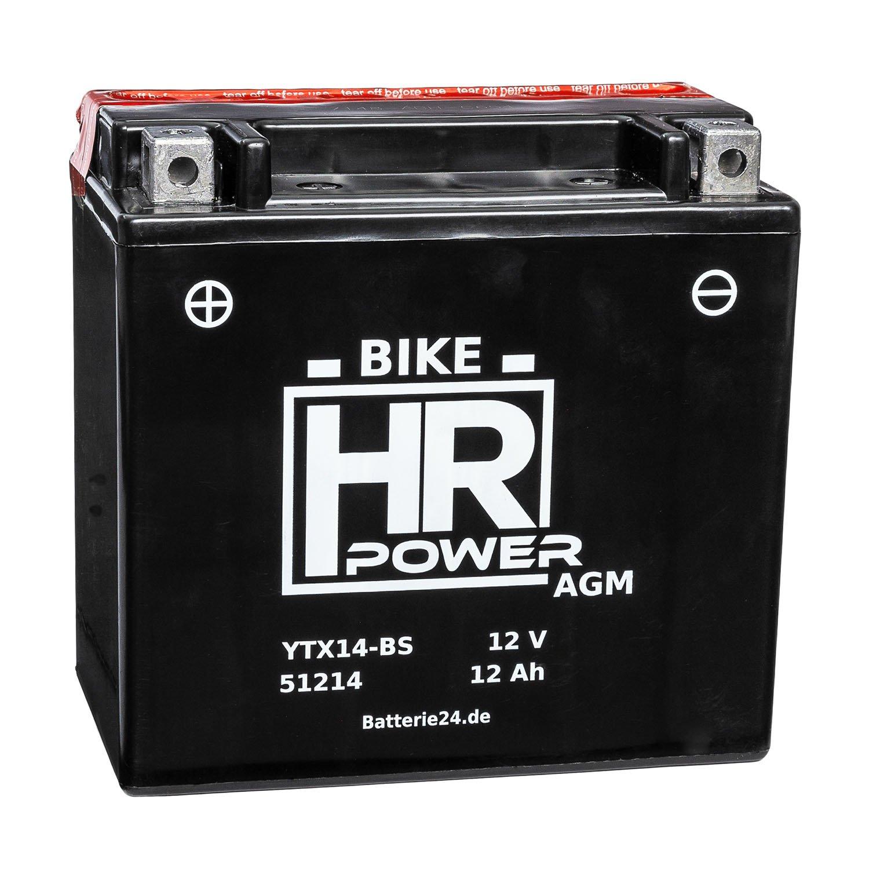 AGM Motorrad Batterie Starterbatterie 12V 12Ah YTX14-BS 51214 wartungsfrei HR Bike Power