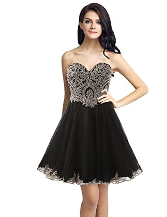 e4d1c854e Sarahbridal Junior's Gold Lace Applique Short Quinceanera Homecoming Dresses  Black US2