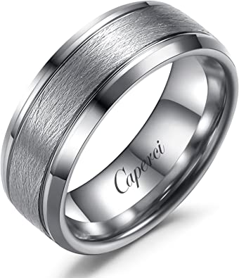 New Mens TUNGSTEN CARBIDE RING with Brushed Finish 8mm comfort fit Wedding Band