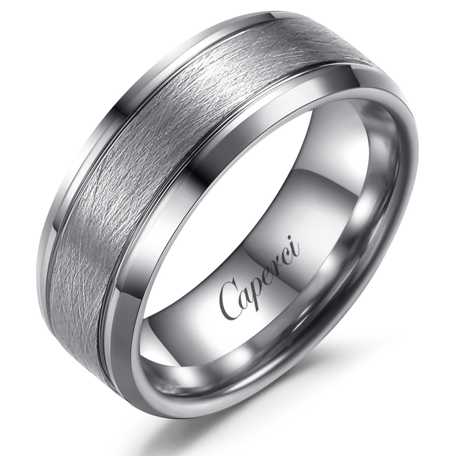 Caperci 8mm Tungsten Carbide Ring Wedding Band for Men Brushed Finish Beveled Comfort Fit Size 12.5