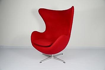 Poltrona Egg Originale Prezzo.Ardesign Poltrona Egg Chair Riproduzione Arne Jacobsen Tessuto Rosso