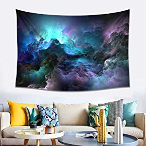 Cthglong Galaxy Tapestry Abstract Clouds Fractal Tapestry Wall Hanging Psychedelic Colorful Nebula Tapestry Mystery Starry Wall Decor Tapestry For Bedroom Living Room(Cyan Purple, L60 X W40 Inches)