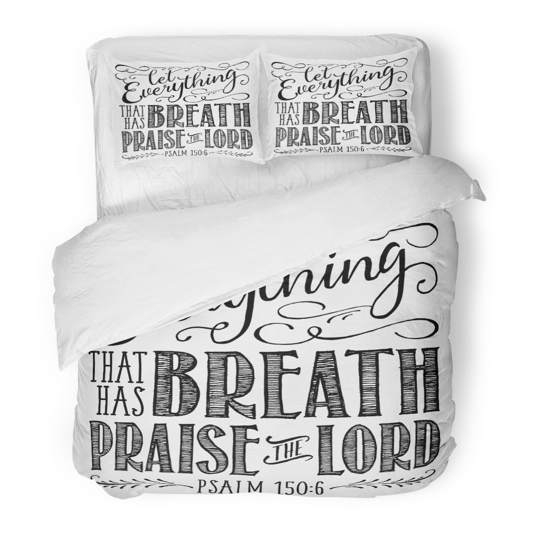 SanChic Duvet Cover Set Christian Biblical Calligraphy Elegant Swashes Accents from Psalms Let Everything That Has Breath Decorative Bedding Set Pillow Sham Twin Size
