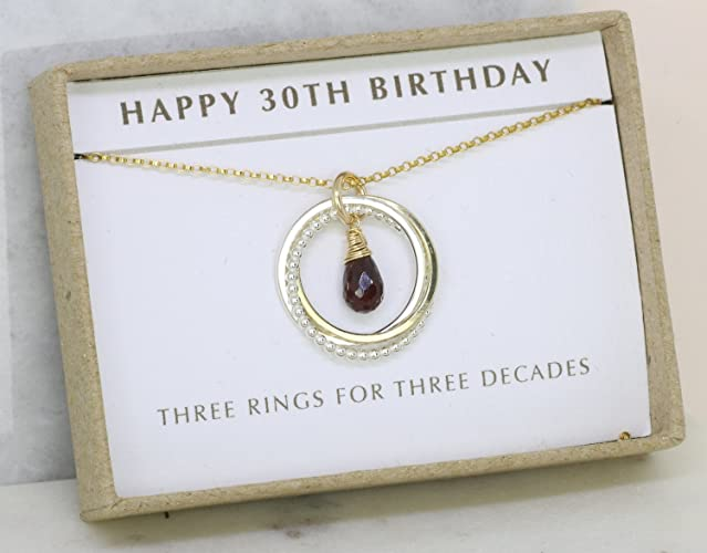 30th Birthday Gift For Her Garnet Necklace January Birthstone