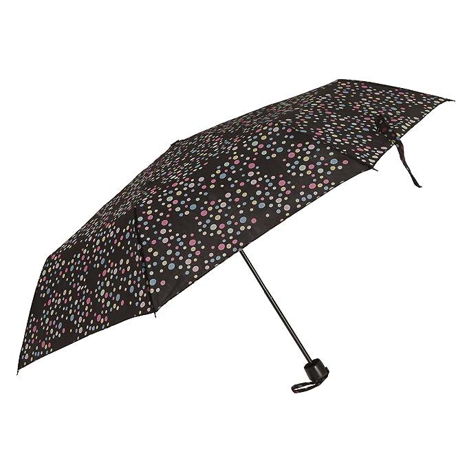 Severyn Paraguas compacto resistente al viento con estampado de lunares para mujer (Talla Única/