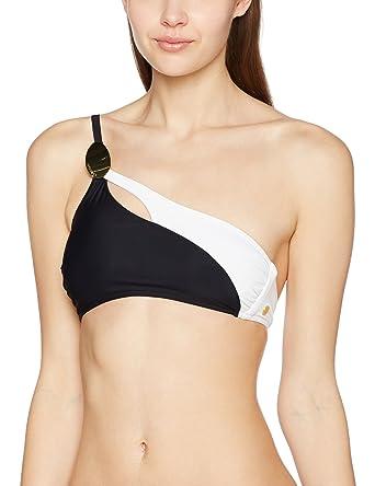 Calvin Klein Slit Shoulder Bralette, Haut de Maillot Femme, Multicolore ( Black White daa58b9cb0d5