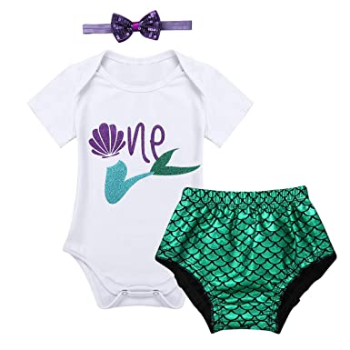 4b7a416be95a Amazon.com  CHICTRY Baby Girls  1st Birthday Little Mermaid Outfit ...