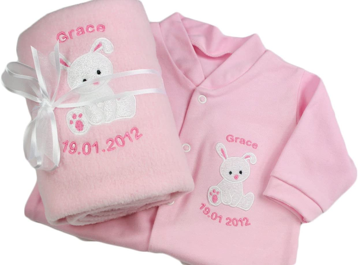 Personalised Embroidered New Baby Girl//Birth//Christening 3 Peice Bunny Gift Set