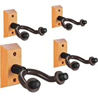 Guitar Wall Mount Hanger 4-Pack, Hardwood Guitar Hanger Wall Hook Holder Stand Display with Screws - Easy To Install - Fits All Size Guitars, Bass, Mandolin, Banjo, Ukulele