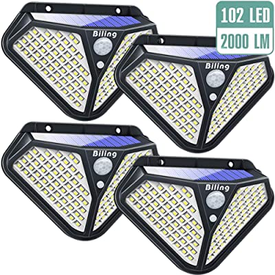 Biling Solar Lights Outdoor, Diamond 102 LED Solar Motion Sensor Security Lights 270° Wide Angle, Solar Garden Wall Lights Wireless Waterproof for Porch Deck Pathway Driveway Garage - White(4 Packs)