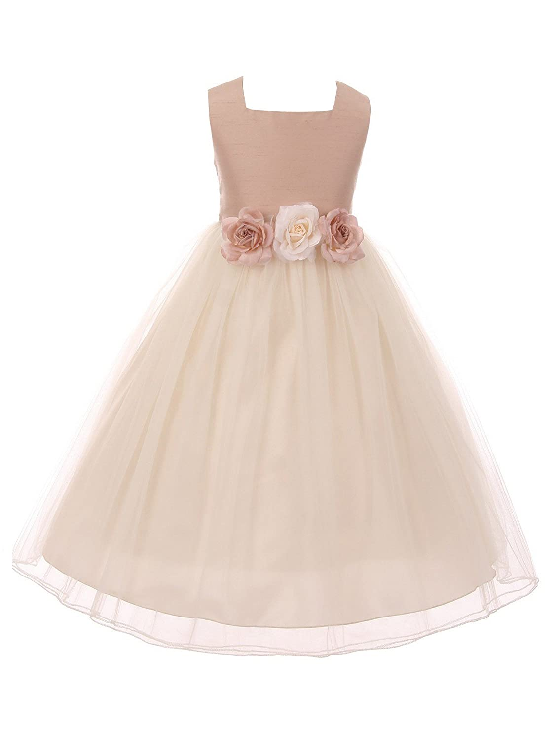 Kids Dream Big Girls Vintage Rose Satin Tulle Junior Bridesmaid Dress 8-12