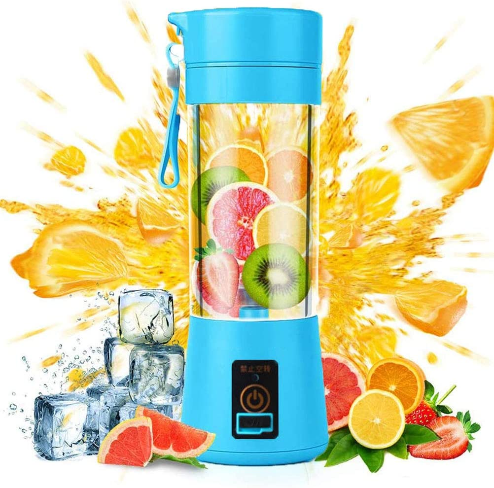juicer 【zzxb】 Portable Blender USB Rechargeable, Small Blender Single Serve, Personal Size Blender Travel Blender Cup 380ml (FDA, BPA Free)