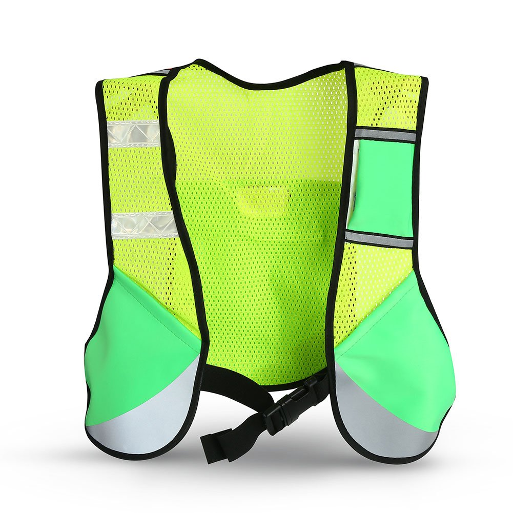 Rehomy Reflective Vest Running Gear Unisex Adjustable Safety /& High Visibility Jacket for Night Cycling Motorcycle Dog-Walking