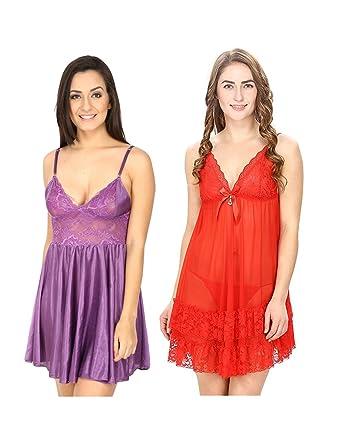 Secret Wish Women s Satin Babydoll lingerie nightwear  e37fa2de6