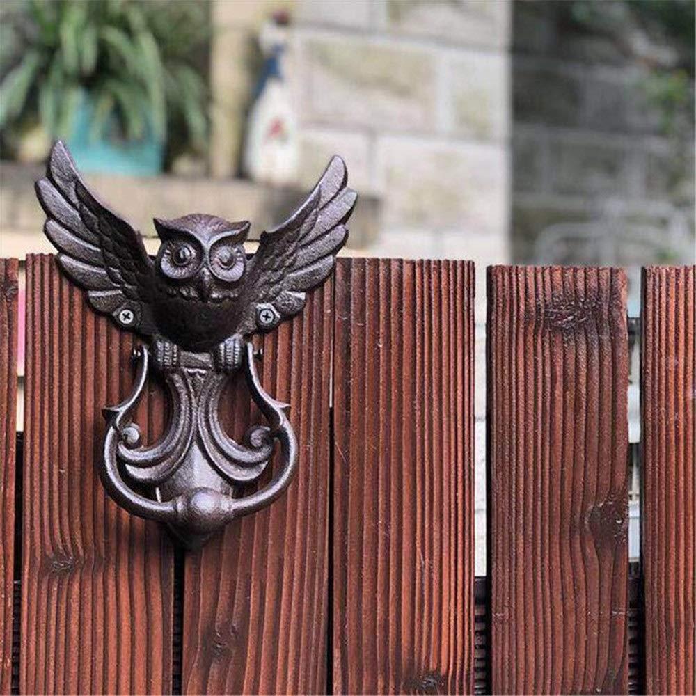 MDYYD Rustic Barn Door Pull Handle Vintage Cast Iron Owl Door Knocker, Classical Tranditional Euro Rustic Style Gate Door Handles for Your Garden/Wooden House Gate Handles Door Hardware