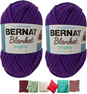 Big Ball Blanket Yarn Bundle by Bernat Plus 6 Blanket Yarn Patterns Super Bulky #6 10.5 Ounce Ball 220 Yards (Pow Purple)