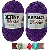 Bernat Plus 6 毛毯纱线套装超厚 #6 10.5 盎司球 220 码 Pow Purple X大码 Big Ball Bundle