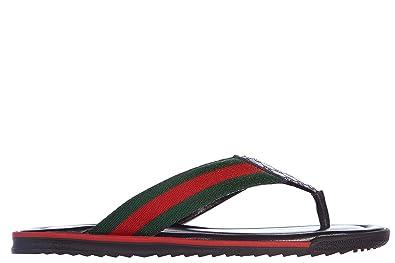 e2efbe3f140b Gucci Men s Leather flip Flops Sandals mir Soft Logo Black UK Size 5 268670  A9LA0 1061