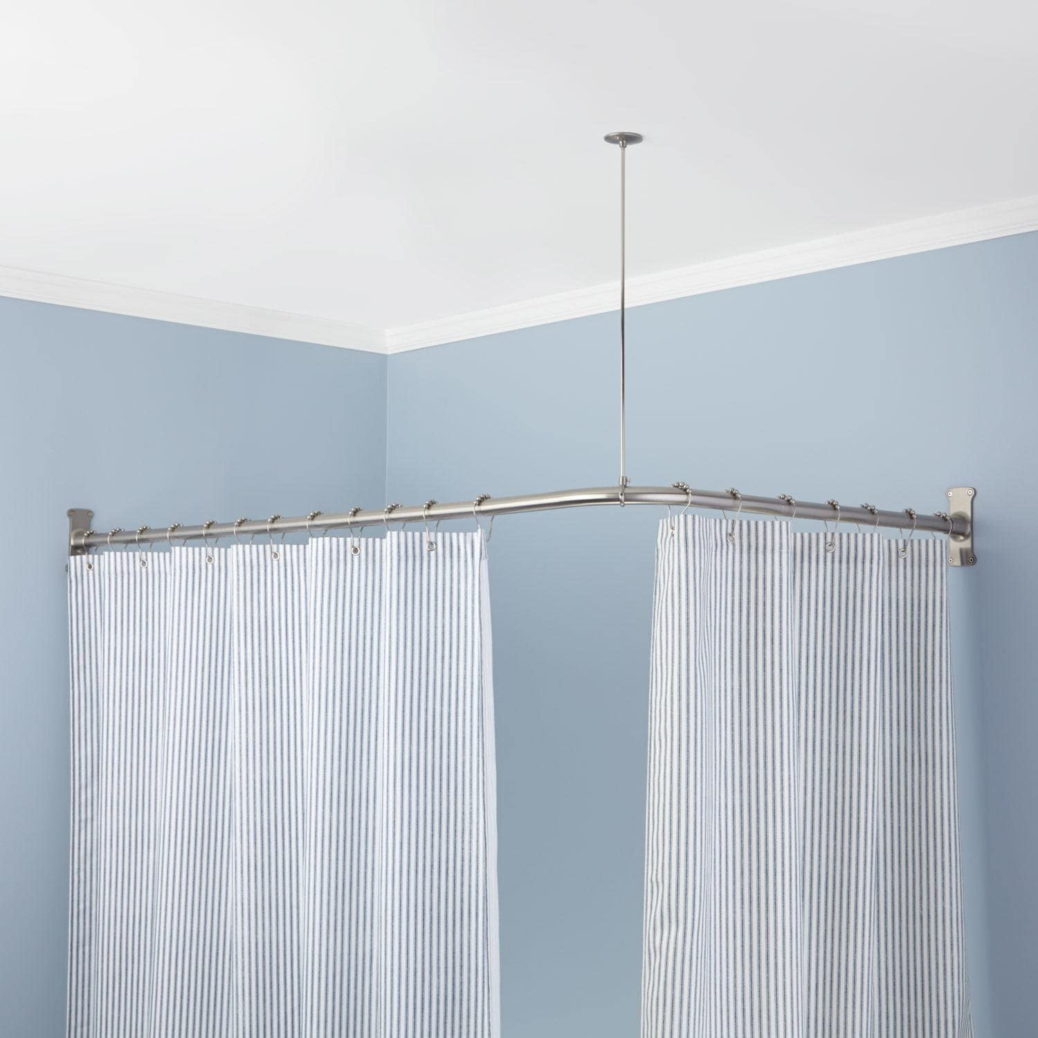 naiture stainless steel 36 x 36 corner shower curtain rod with ceiling support chrome finish