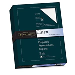 Southworth Fine Linen Paper, 8-1/2 x 11 Inches, White (SOUJ558C)