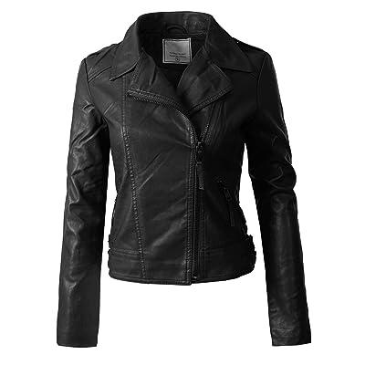 Design by Olivia Women's Long Sleeves Asymmetrical Zipper Closure Biker Faux Leather Jacket at Women's Coats Shop
