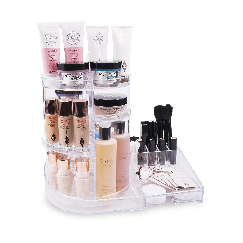 Organizador de Maquillaje 3-en-1, Almacenamiento Giratorio 360 con Cajon, Para Cosméticos, Con Soporte para Brochas, Con Soporte de Algodón, Encimera ...