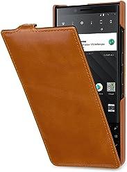 StilGut UltraSlim Case, custodia per BlackBerry Key2 flip case in vera pelle con funzione on/off, cognac