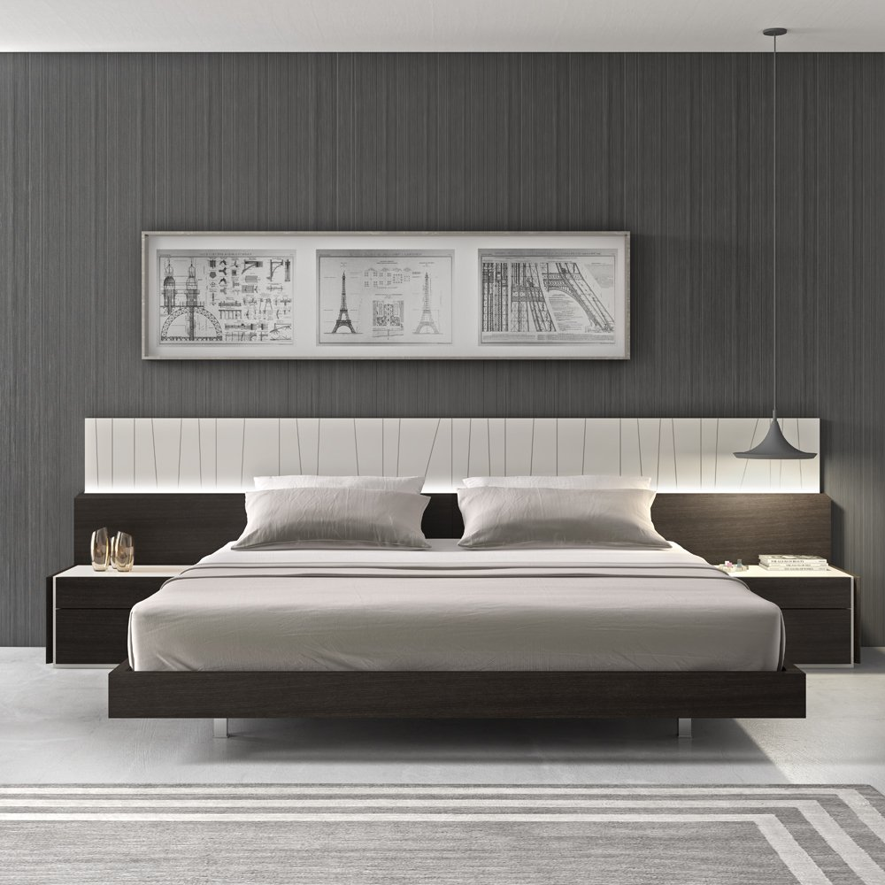 Amazon.com: J&M Furniture Porto Light Grey Lacquer With Wenge Veneer ...