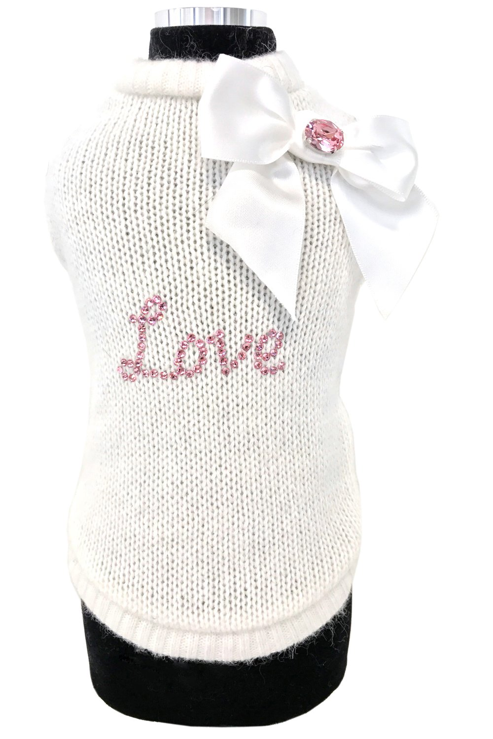 White M white M Trilly tutti Brilli Connie, dog's jumper with Swarovski crystal decoration, white, M