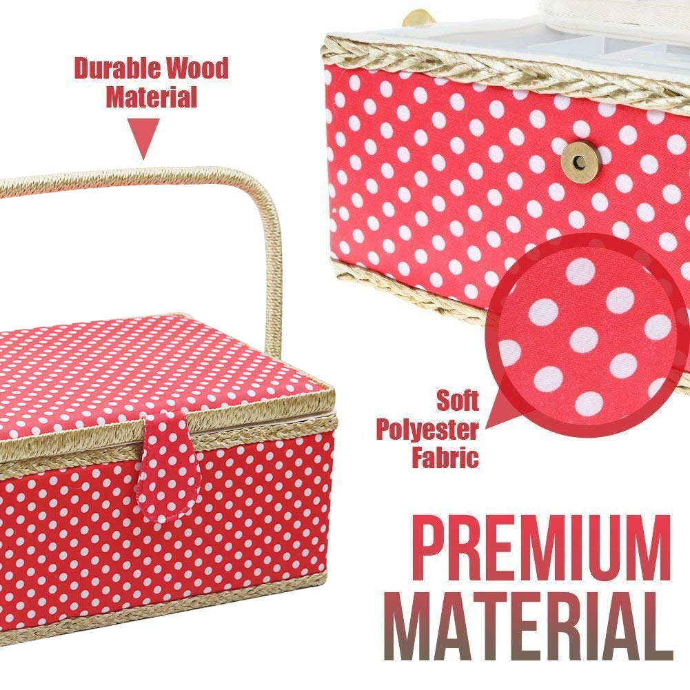 Pink Large Sewing Box with Travel Kit Sewing Basket Organizer with Accessories DIY Sewing Supplies Sewing Kits for Adults