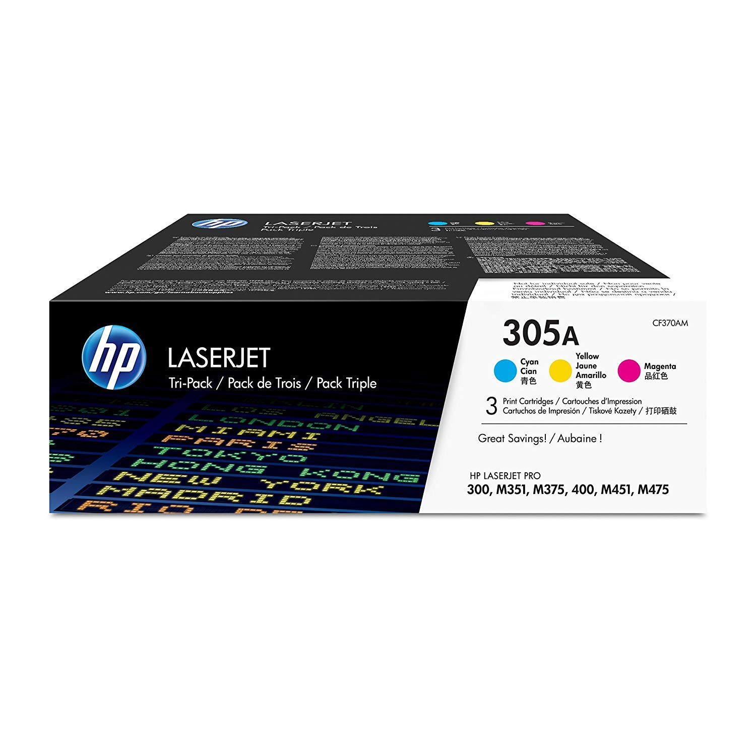 HP 305A | CE411A, CE412A, CE413A | 3 Toner Cartridges | Cyan, Yellow, Magenta