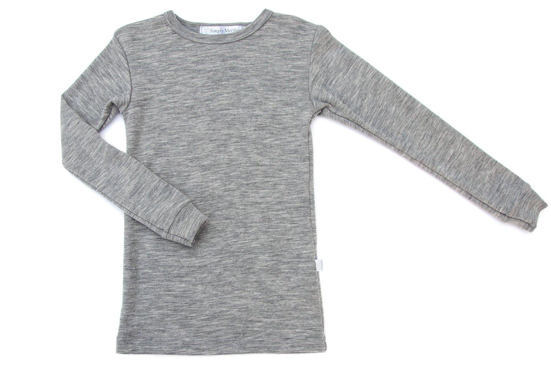 Pure Merino Wool Kids Thermal Top. Base layer Underwear Soccer. GREY 11-12 Yrs