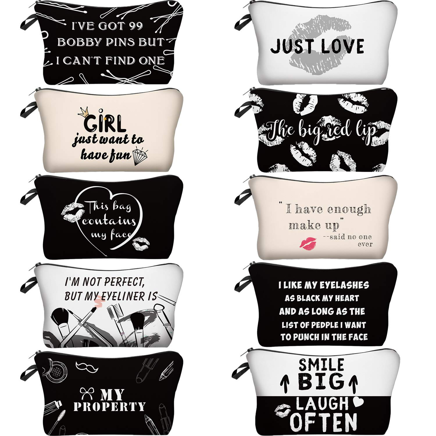 10 Pieces Letters Makeup Bags Cosmetic Pouch Travel Zipper Cosmetic Organizer Toiletry Bag Printing Pencil Bag for Women Girls Supplies Valentine's Day Gift (Black and White Style) 713RwW7tLIL