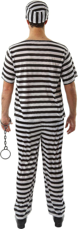 CL634 Jailbird Convict Mens Jail Guilty Criminal Outlaw Prisoner Fancy Costume