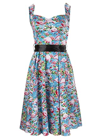 Womens Pink Flamingo 50's PinUp Retro Vintage Swing Dress – Size X-Small